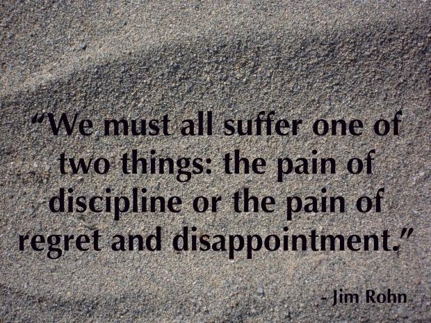 We must all suffer one of two things the pain of discipline or the pain of regret and disappointment Jim Rohn